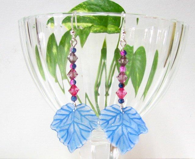 E1007 Impression of Flower-Maple Leaves Earrings 6.5cm