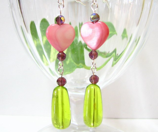E1104 LOVE ROMANCE DANGLE HOOK EARRINGS 7cm