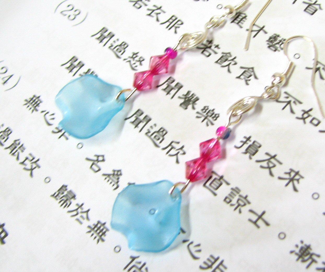 E1018 Charming Blue Malus Halliana Dangle Heart Earrings 6cm