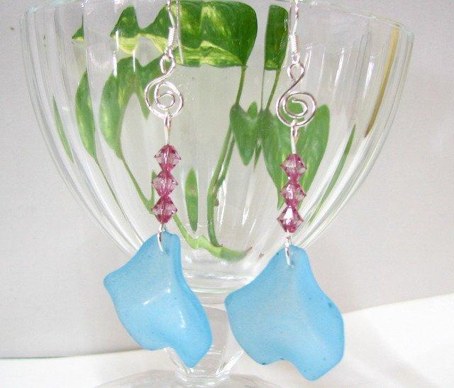 E1020 Beautiful Dangle Blue Lpomoea Nil Earrings 7cm