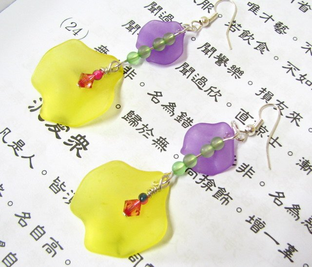 E1022 Lovely Flower Yellow Rose Dangle Earrings 7cm