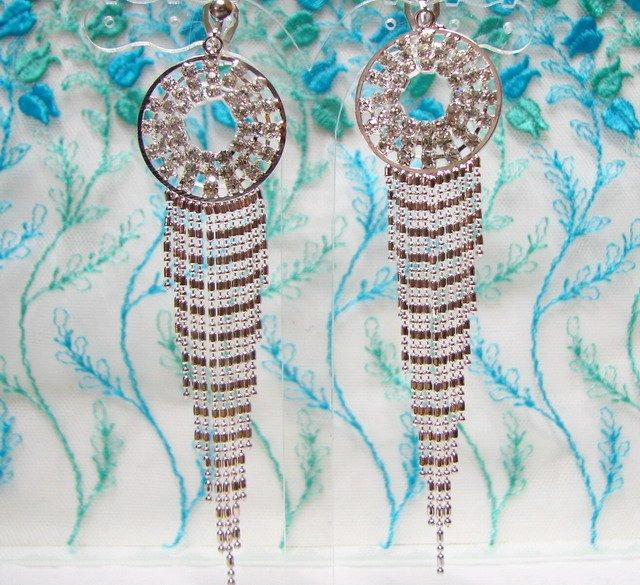 *FREE SHIPPING* E925 Charming Rhinestone Dangle Clip On Earrings 9cm