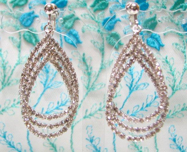 *FREE SHIPPING* E932s Glamorous Rhinestone Silverly Clip On Earrings 5.5cm