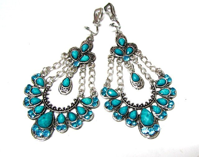 *FREE SHIPPING *E1683 Charming Blue Rhinestone Clip On Earrings 7.5cm