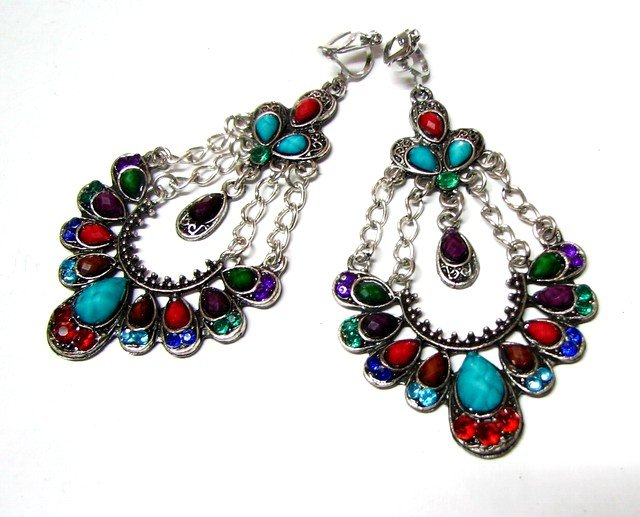 *FREE SHIPPING *E1682 Colorful Dangle Floral Clip On Earrings 8cm cOOl!!