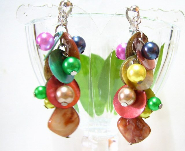*FREE SHIPPING* E442 Colorful Shell & Beads Dangle Clip On Earrings 6cm