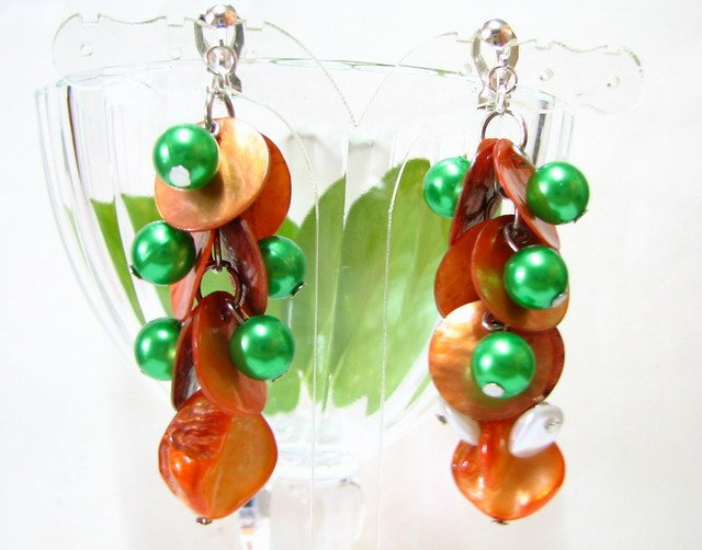 *FREE SHIPPING*E448 Orange & Green Shell Clip On Earrings 6cm cOOl!!