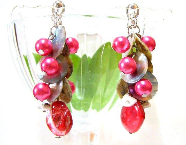 *FREE SHIPPING*E449 Shell Dangle Clip On Earrings 6cm Lovely!