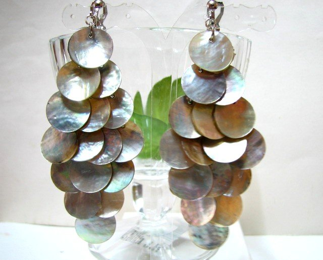 *FREE SHIPPING*E454 Charming Shell Dangle Clip On Earrings 8.5cm cOOl!