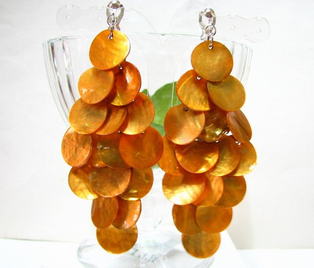*FREE SHIPPING*E455 Yellow Shell Dangle Clip On Earrings 8.5cm cOOl!