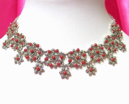 *FREE SHIPPING* NA942 ETHNIC TRIBAL FLORAL NECKLACE 37.5cm _cOOl!!_SPECIAL OFFER!!