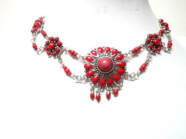 *FREE SHIPPING* NA12 ETHNIC TRIBAL RED DANGLE PENDANT NECKLACE 50cm _cOOl!!_SPECIAL OFFER!!