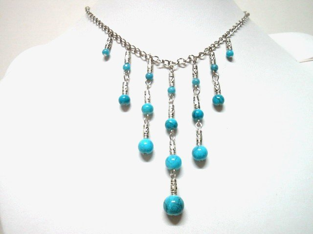 *FREE SHIPPING*NA655ETHNIC TRIBAL DANGLE BLUE NECKLACE 45CM