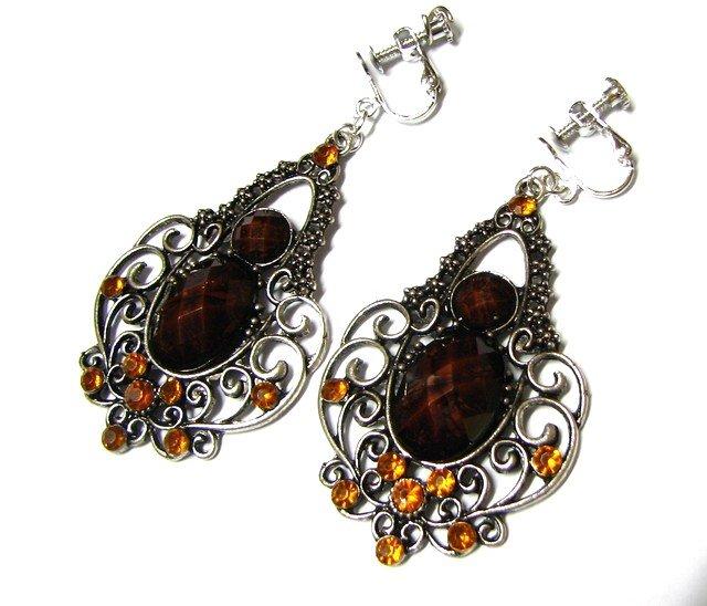 *FREE SHIPPING*E1741 Brown Rhinestone Dangle Clip On Earrings 7cm Charming!