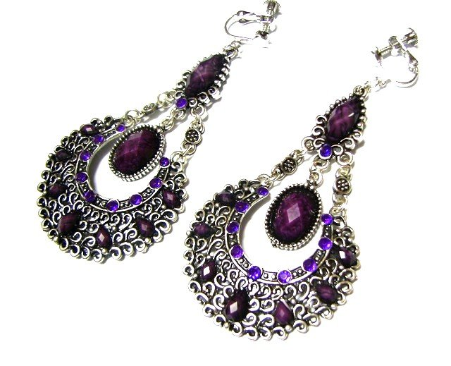 *FREE SHIPPING*E1736 Exotic Rhinestone Purple Dangle Clip On Earrings 8cm