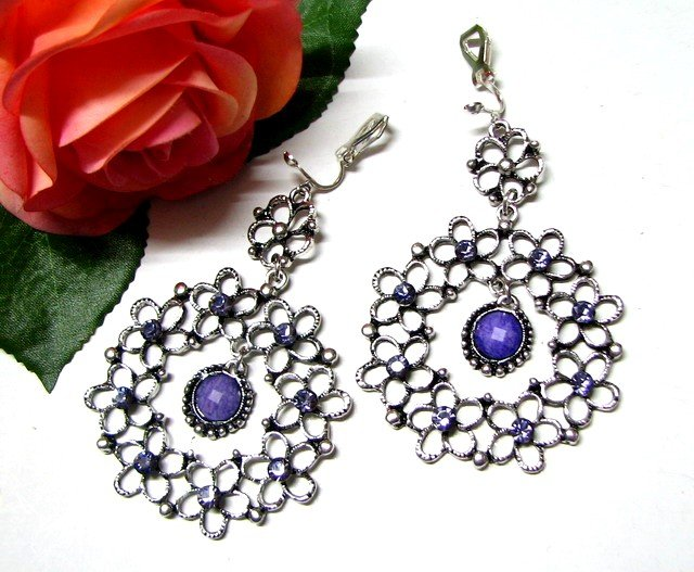 *FREE SHIPPING*E1735 Rhinestone Purple Dangle Clip On Earrings 7cm Exotic Jewelry
