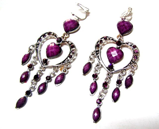 *FREE SHIPPING*E1733 Rhinestone Dangle Purple Exotic Jewelry Clip On Earrings 8.5cm Beautiful!