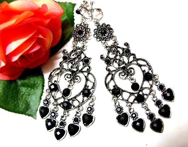*FREE SHIPPING*E1732 Rhinestone Dangle black Exotic Jewelry Clip On Earrings 10.5cm Huge!
