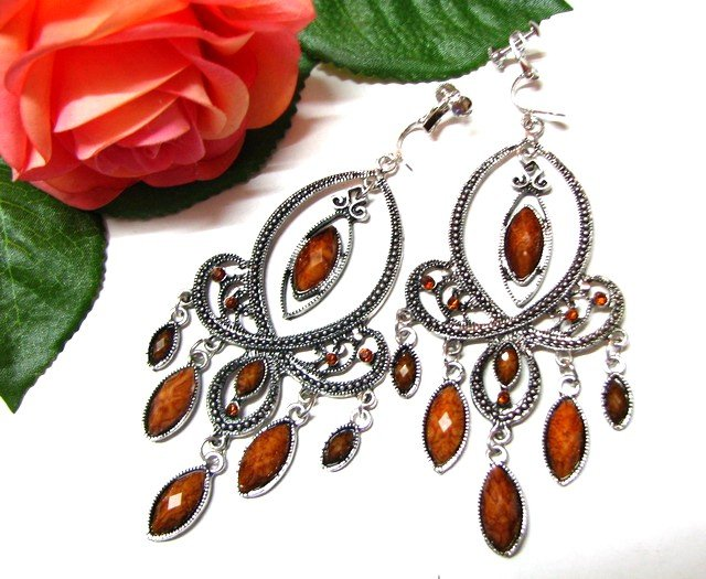 *FREE SHIPPING*E1729 Rhinestone Dangle Brown Exotic Jewelry Clip On Earrings 10cm cOOl!!