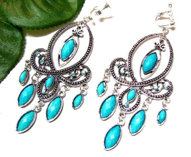 *FREE SHIPPING*E1728 Rhinestone Dangle Blue Exotic Jewelry Clip On Earrings 10cm gorgeous!Huge!