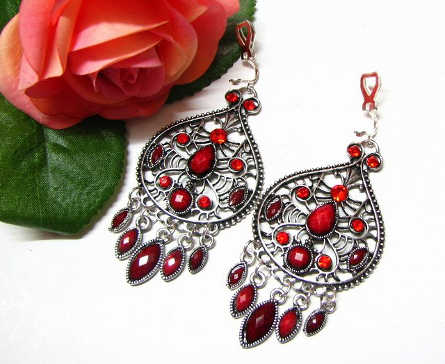 *FREE SHIPPING*E1722 Rhinestone Dangle Red Clip On Earrings 7cm Charming!!