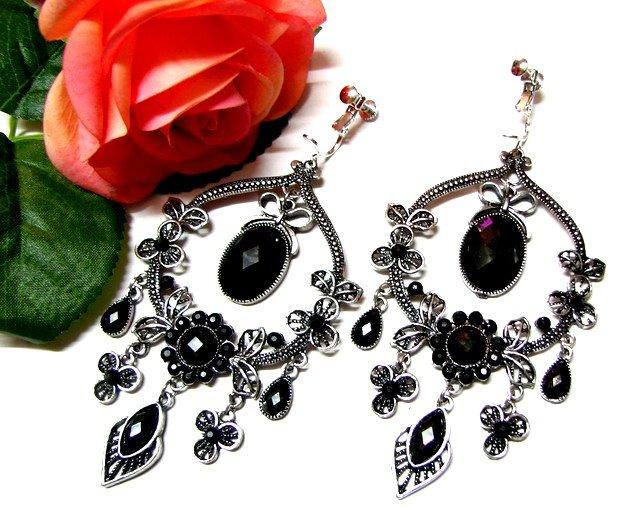 *FREE SHIPPING*E1719 Rhinestone Black Dangle Clip On Earrings 9.5cm