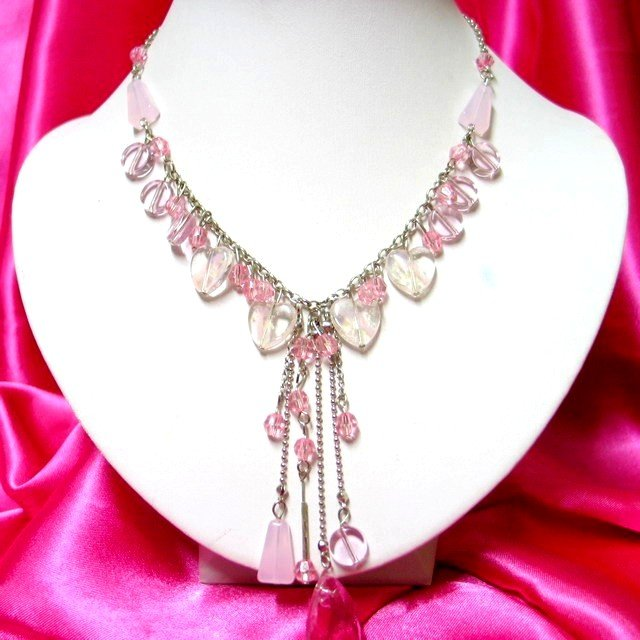 *FREE SHIPPING*NB271 CRYSTAL CLEAR GLASS PINK DANGLE NECKLACE