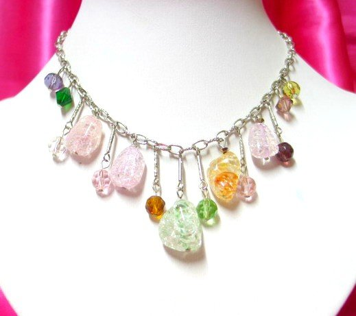 *FREE SHIPPING*NB541 CHARMING RAINBOW ICE GLASS DANGLE NECKLACE 17inches