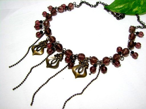 *FREE SHIPPING*NB568 STYLISH PURPLE GLASS & BEADS DANGLE NECKLACE 18 inches