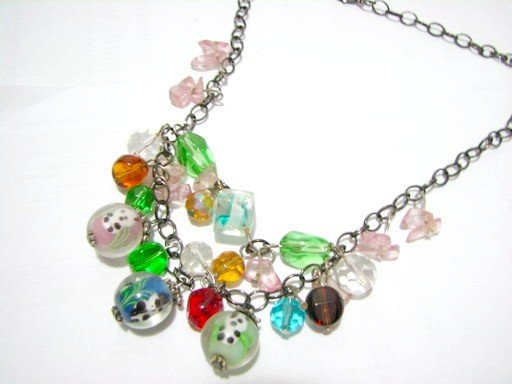 *FREE SHIPPING*NB577 LOVELY PANDA GLASS & BEADS DANGLE NECKLACE 18 inches