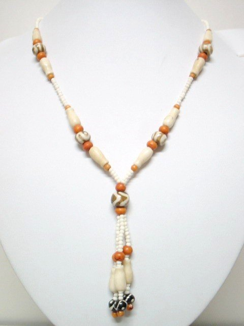 *FREE SHIPPING*NA1010 ETHNIC JEWELRY YAK BONE NECKLACE 21 in.