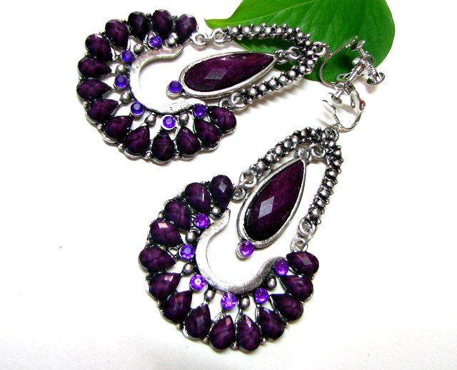 *FREE SHIPPING*E1614 Purple Rhinestone Exotic Dangle Jewelry Clip On Earrings 7cm