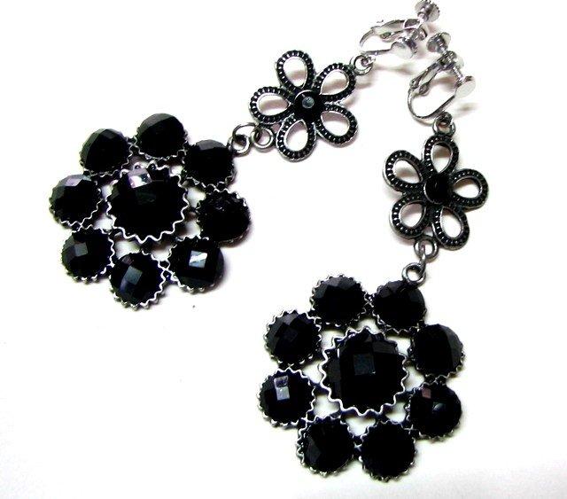 *FREE SHIPPING*E1619 Rhinestone Black Floral Clip On Earrings 7.5cm exotic jewelry earrings
