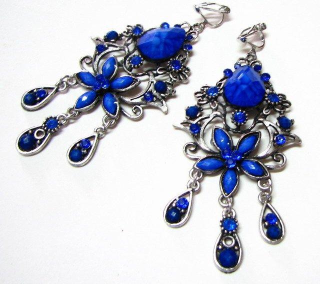 *FREE SHIPPING*E1621 Blue Rhinestone Exotic Clip On Earrings 8cm