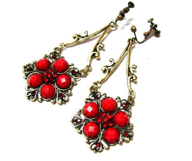 E1635 Exotic Rhinestone Red Floral Clip On Earrings 7.5cm ~ FREE SHIPPING~