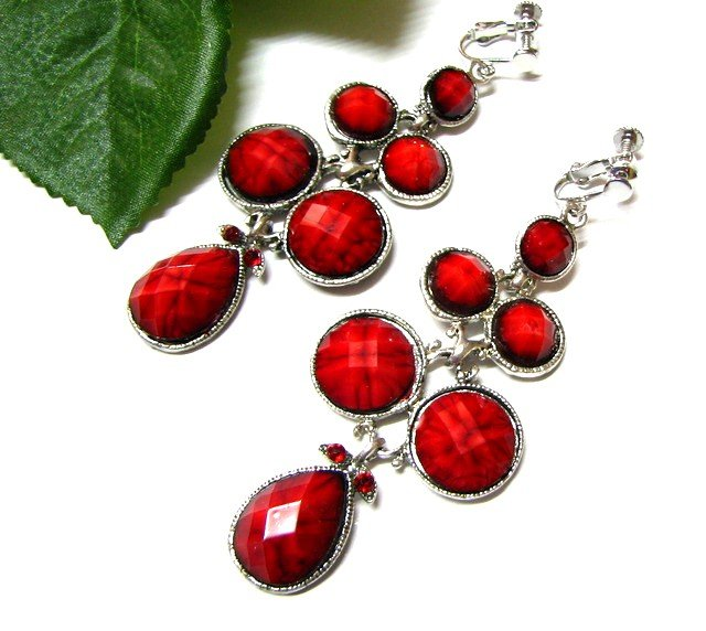 E1631 Exotic Rhinestone Red Floral Clip On Earrings 7.5cm  ~ FREE SHIPPING~