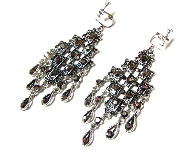 E1639 Exotic Black Rhinestone Clip On Earrings 8.5cm  ~ FREE SHIPPING~