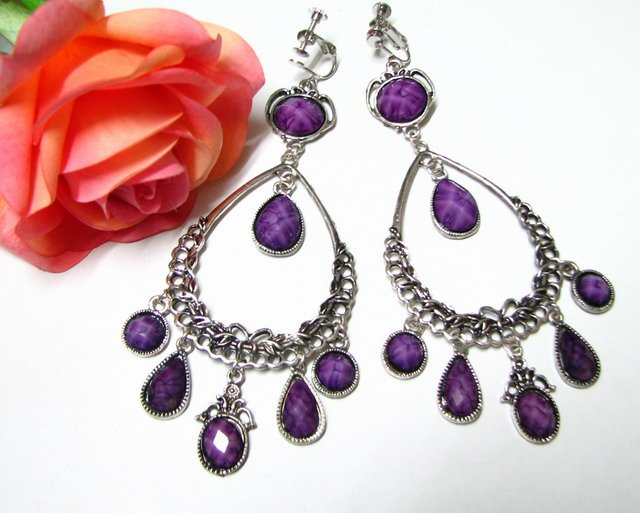 E1652 Beautiful Purple Dangle Clip On Earrings 11cmn Huge! ~ FREE SHIPPING~