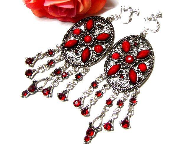 ~FREE SHIPPING~ E1659 Red Rhinestone Charming Clip On Earrings 8.5cm