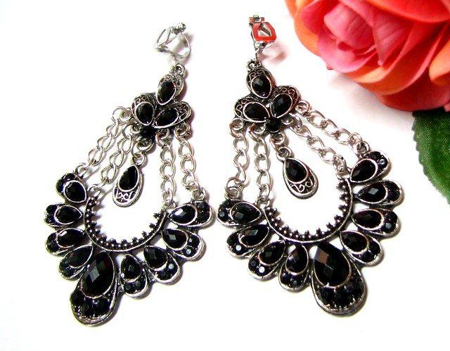 ~FREE SHIPPING~ E1660 Charming Black Rhinestone Clip On Earrings 7.5cm