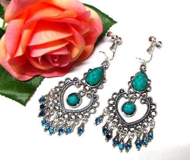 ~FREE SHIPPING~E1669 Green Rhinestone Dangle Clip On Earrings 7cm Beautiful