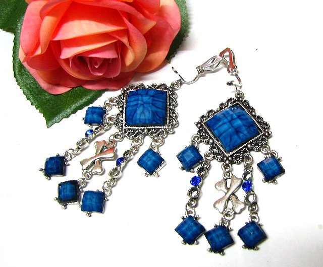 ~FREE SHIPPING~E1674 Charming Blue Dangle Clip On Earrings 8cm