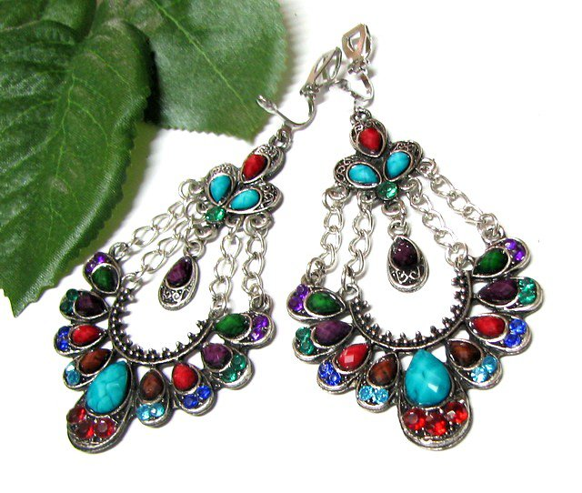 ~FREE SHIPPING~E1682 Colorful Dangle Floral Clip on Earrings 7.5cm cOOl!!