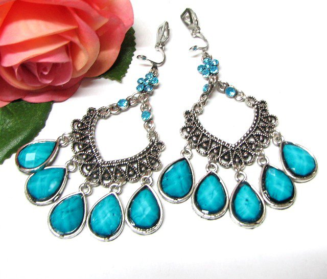 E1643 Dangle Blue Clip On Earrings 7.5cm cOOl!!