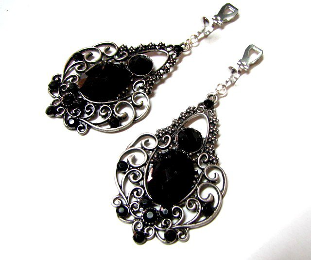 *Free Shipping* Black Rhinestone Glamorous Earrings 6.5cm E1648