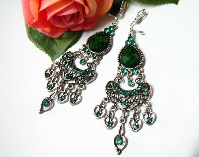 E1649 Exotic Dangle Green Rhinestone Earrings 9cm