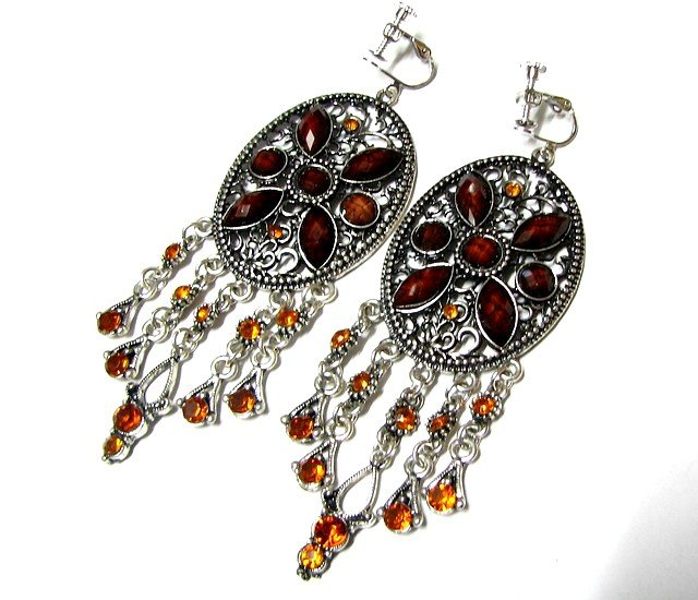 E1665 Beautiful Brown Dangle Clip On Earrings 9.5cm