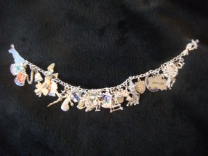 Vintage Old English  Sterling Sheilds, 3D & other Charms Bracelet