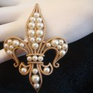 Vintage Trifari Fleur De Lis Faux Pearl Brooch