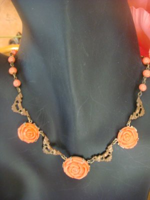 ART DECO GLASS CORAL COLOR FLOWERS & STAMPED LINKS